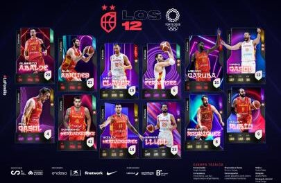The 12 players for Tokyo, with Juancho Hernangómez